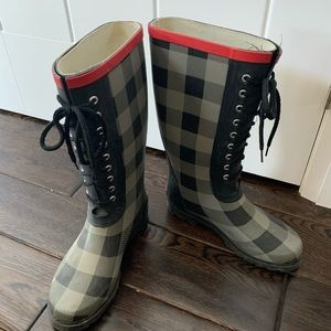 Roberto Vianni Plaid Lace Up Rain Boots